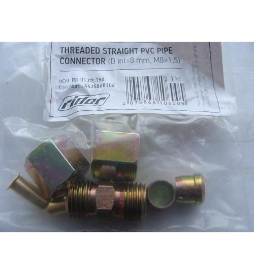 Соединитель трубки ПВХ тройник резьбовой (Dвнут.=12мм, М18х1,5) (RIDER)