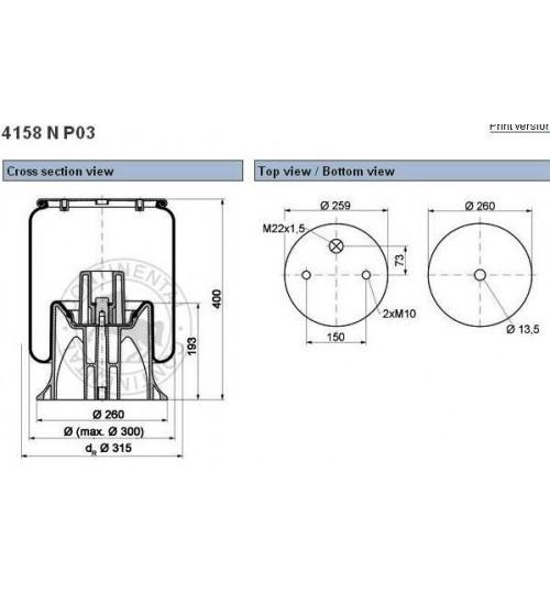 Стакан пневморесоры  4158 (41582SP-CONTECH)