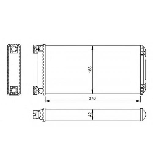 Радиатор печки 188x370x42mm DAF 65CF,75CF,85CF,CF65,CF75,CF85,XF105 (пр-во NRF)