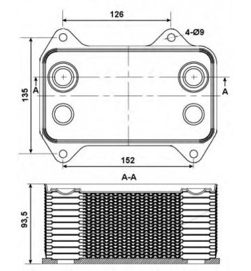 Масляный радиатор DAF CF 85, XF 95 (теплообменник) (пр-во NRF)